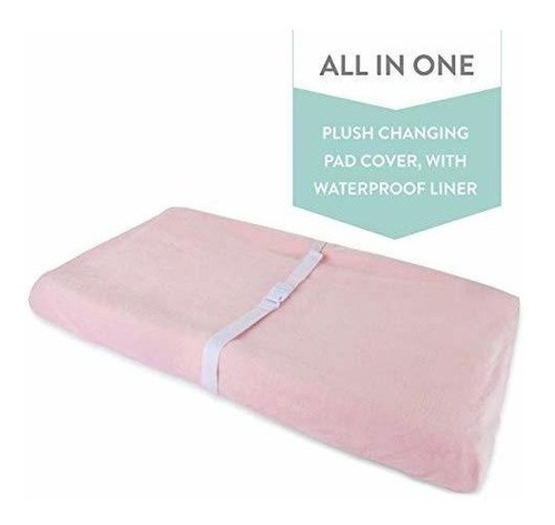 Imagen 1 de 6 de Funda Impermeable De Cambiar Pad De Felpa 100% Algodon Rosa