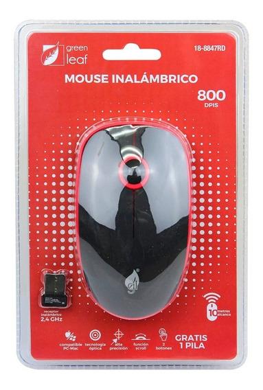 Mouse Inalambrico Green Leaf 18-8847 2.4ghz Slim 800 Dpi