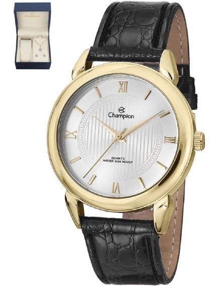 Kit Relógio Champion Feminino Dourado Puls Couro Pu Ch22724w