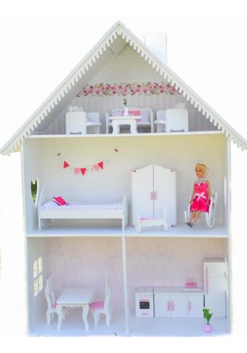 Casa Casita De Muñeca Barbie Pintada C Muebles Y Accesorios Mercado Libre