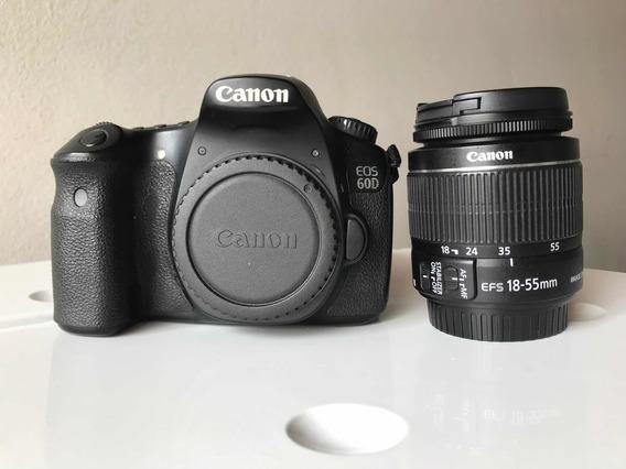 Câmera Canon 60d Com Lente 18-55mm, Carregado E Bateria