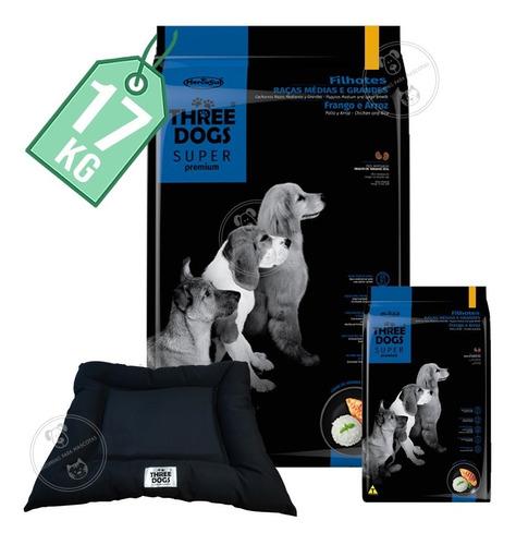Imagen 1 de 2 de Alimento Three Dogs Cachorros Rza Med Y Gde 17 Kg + Obsequio