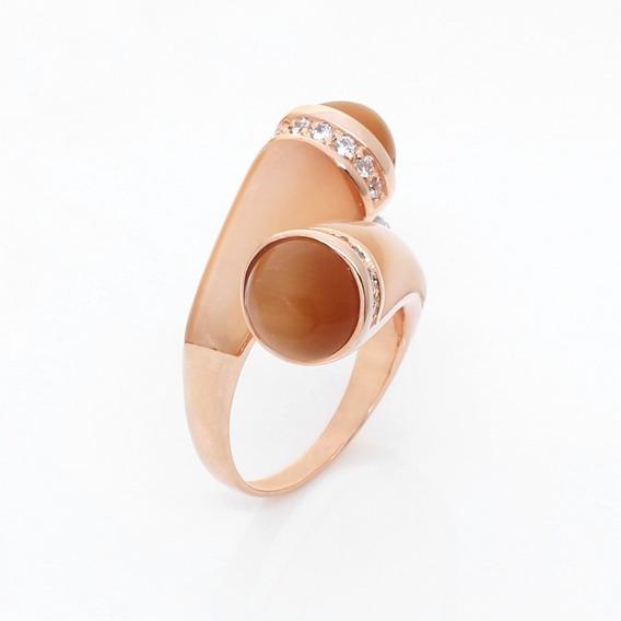 Anel Pedra Natural Bege Prata 925 Banho Ouro Rose 5206