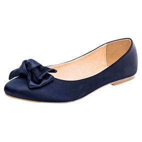 Zapato Elegante Para Dama Rojo O Azul Marino Moño Decorativo