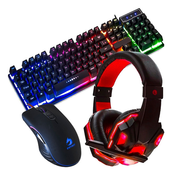 Kit Teclado Mouse Gamer Headset Fone Led Ps4 Pc Versão Top