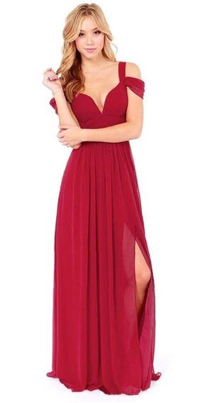 Vestido Largo De Fiesta Velo Espalda Destapado Elegante