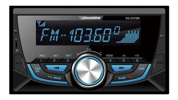 Som automotivo Roadstar RS-3707 com USB, bluetooth e leitor de cartão SD