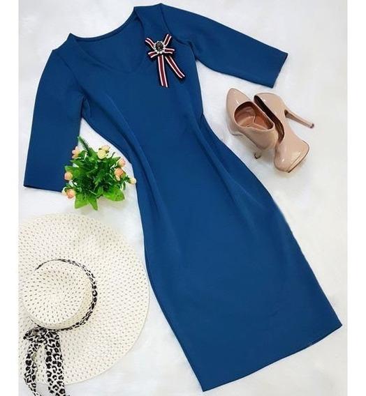 Vestido Tubinho Justo Social Moda Modesta Vestidos Femininos