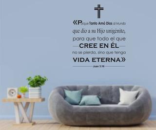 Vinil Decorativo Pared Religión Frases Bíblicas Juan 3:16