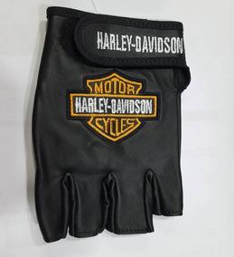 Luva Meio Dedo Couro Motociclismo - Bordado Harley Davidson