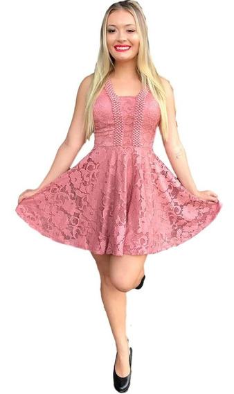Vestido Curto Feminino Boneca Em Renda De Festa Reff2030