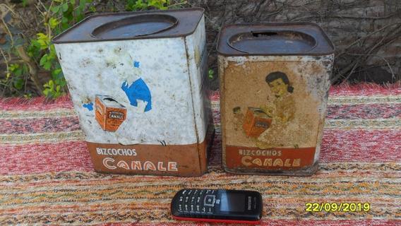 Lote De 2 Antiguas Latas De Galletitas Canale