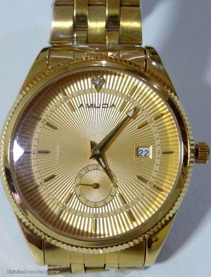 Relógio Feminino A Muda Dourado Ouro De Luxo Das Mulheres