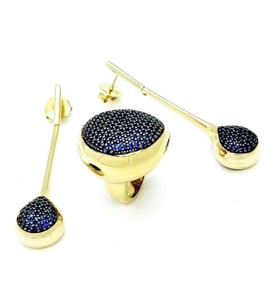 Anel Brincos Cravejados Zirconias Banho De Ouro 18k 812 813