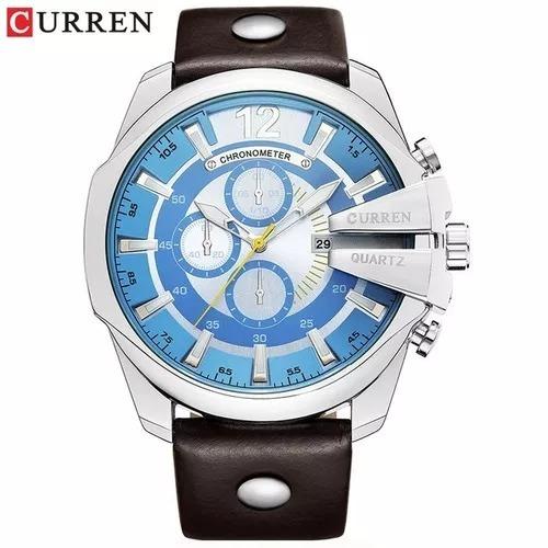Relógio Masculino Curren 8176 Pulseira De Couro Original.