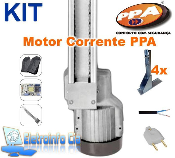 Kit Motor Basculante Corrente Levante Portal 1/4hp 1.5m Ppa