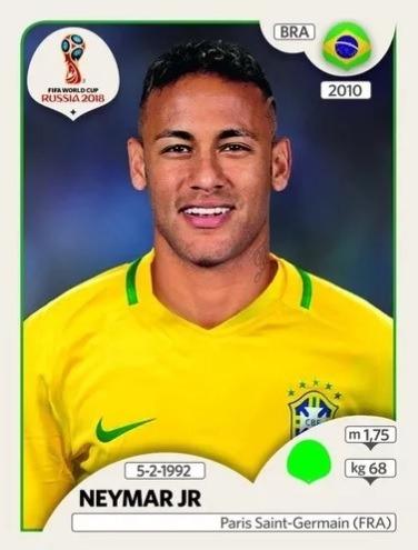 Copa Do Mundo Russia 2018 Figurinha Neymar