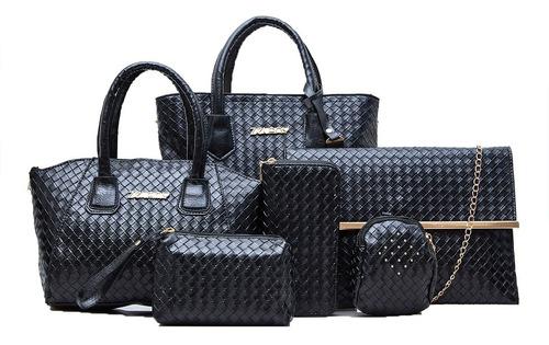 Imagen 1 de 10 de Set 6 Bolsas Alta Moda Dama Mujer Cosmetiquera Mano Hombreo