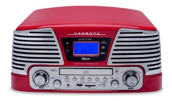 Toca Discos Raveo Harmony Vintage Anos 50 Vermelho Bluetoot