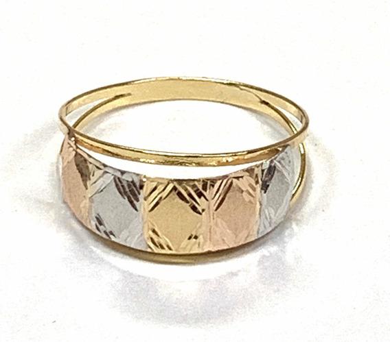 Anel Promoção Tricolor Fosco E Diamantado Ouro 18k 750