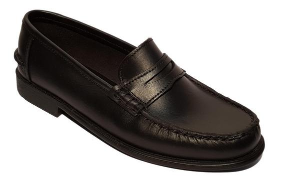 Zapatos Mocasines 996 Clásicos Goma Febo Cuero Negro Marrón