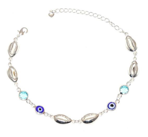 Pulseira Buzios Olho Grego Com Pedra Azul Folheado A Prata