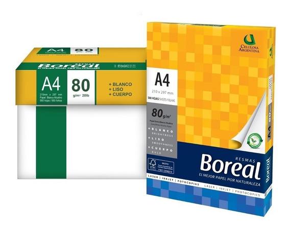 Resma Papel Boreal A4 80gr 500 Hojas Blanco Vta Caja X 10un