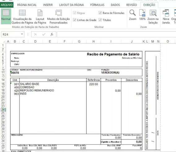 Holerite 100% Editável Excel Envio Via E-mail