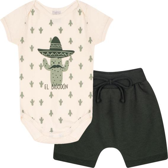 Roupa Bebê Menino Conjunto Body E Shorts Algodão Curto Verão