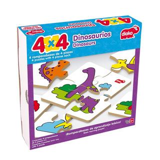 Rompecabezas De Madera 4x4 Dinosaurios (4 Rompecabezas)