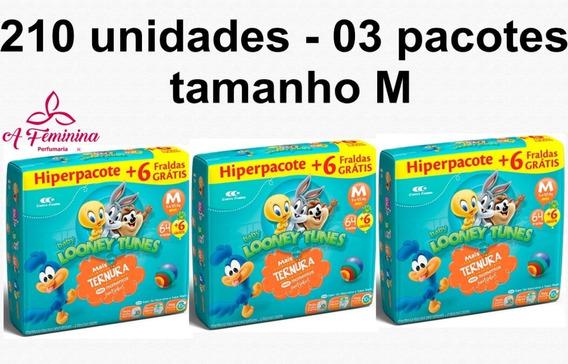 Kit Fraldas Looney Tunes Tamanho M Promoção Atacado Barato