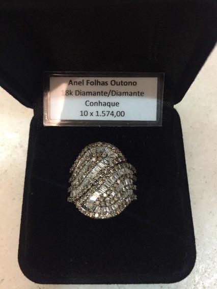 Anel Em Ouro 18k Com Diamantes E Diamantes Champanhe
