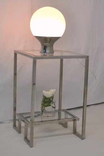Mesa De Apoyo Doble Vidrio Transparente Cala En Acero