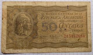 Billete De 50 Centavos Moneda Nacional Serie A Año 1950