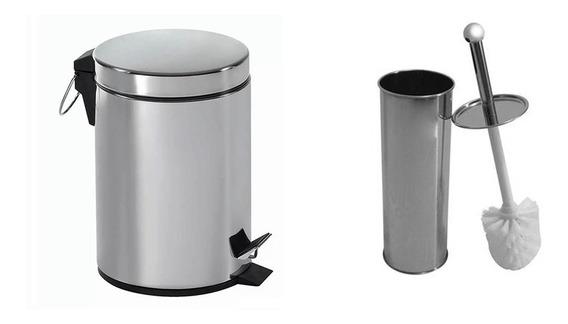 Kit Lixeira 5 Litros + Escova Sanitaria Para Banheiro Inox