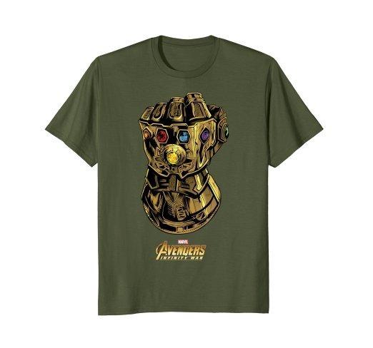 Camiseta Guante Thanos Infinity War Marvel Avengers Verde N