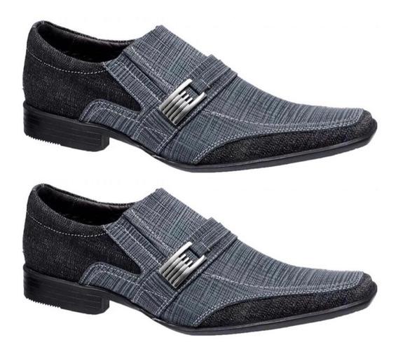Kit 2 Pares Sapato Jeans Preto Azul Social Masculino Couro