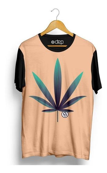 Camiseta Dep Folha Cannabis Bege