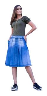Saia Feminina Jeans Midi Plus Size Evangelica Roupas Moda