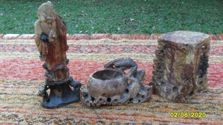 Lote 3 Antiguas Figuras Oriental Tallada Piedra Jabón Pájaro