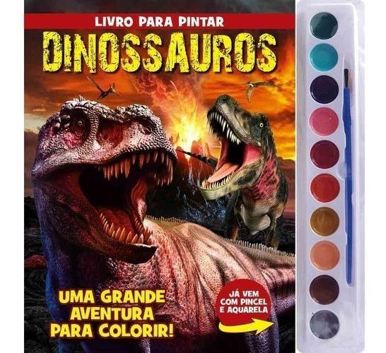 Livro Infantil Para Colorir Com Aquarela Dinossauros