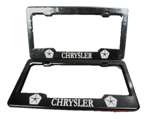 Porta Placa Plastico Para Carro Negro Con Logo Chrysler Par