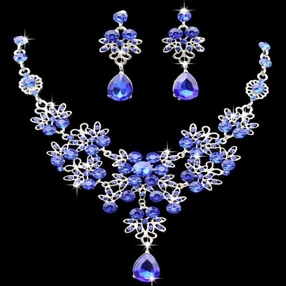 Conjunto Strass Colar Brinco Azul Royal Festa Casamento