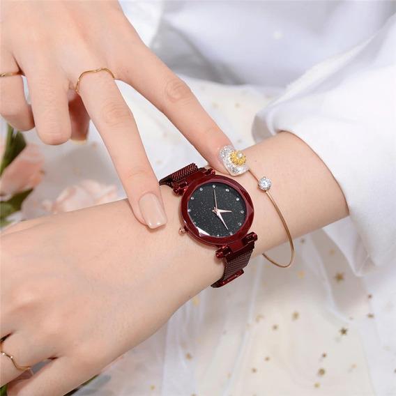 Reloj Para Dama Watch Correa Magnetica Color Rojo + Envio