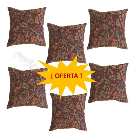 6 Cojín Decorativo Flores Chocolate Cafe Salas En Oferta