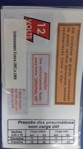 Adesivo De Advertência Do Fusca De 67 À 69