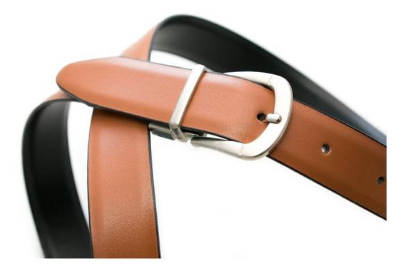 Cinturon Fajo Mujer Dama Doble Vista Piel Leather Cafe Negro