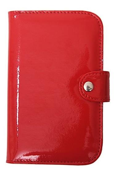 Billetera Mujer Tarjetas Charol Rojo Matriona Pocket Cuerina