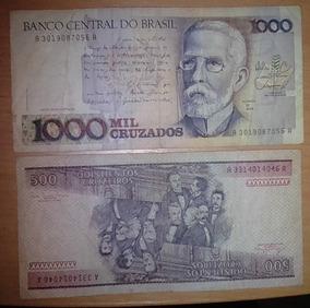 Cédulas 1000 Cruzados 1988 Bc 500 Cruzeiros 1981 Bc