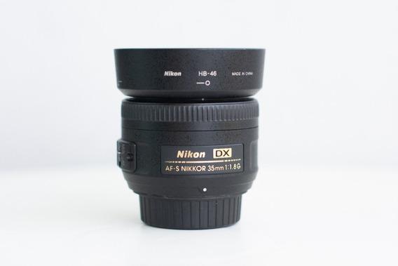 Lente Nikon 35mm F/1.8g Dx Af-s Motor Autofoco Case Parasol